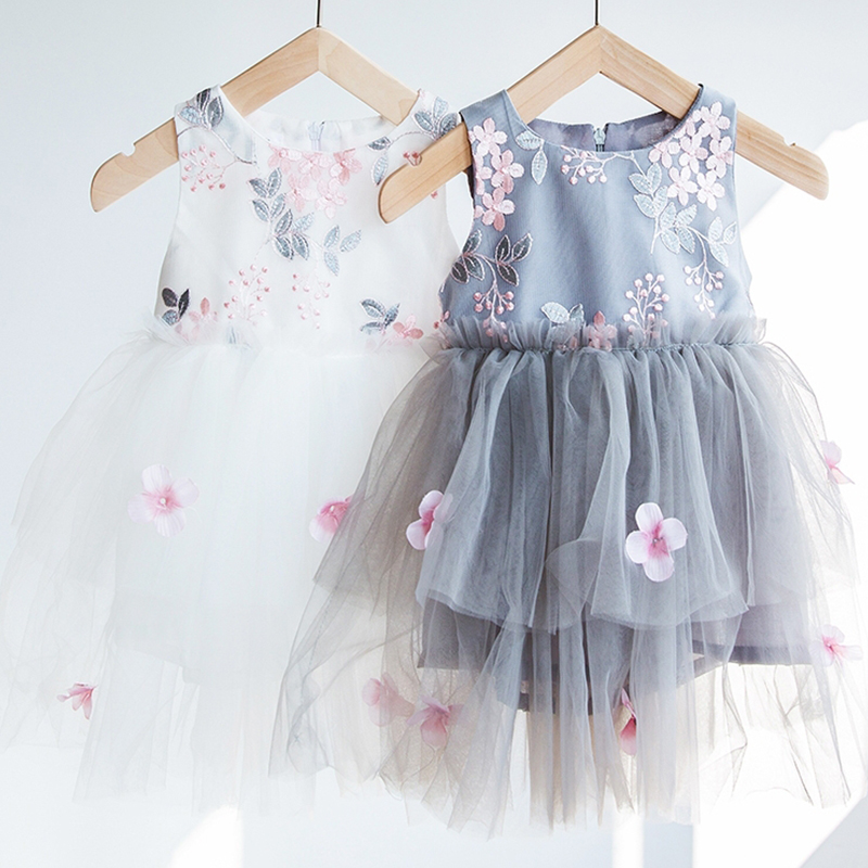 Lace   Flower     Girls     Dress   Embroidery Toddler   Girls   Summer Party Vest Ball Gown Baby Kids Kids Clothing Size 2 4 6 Years Robe Fille