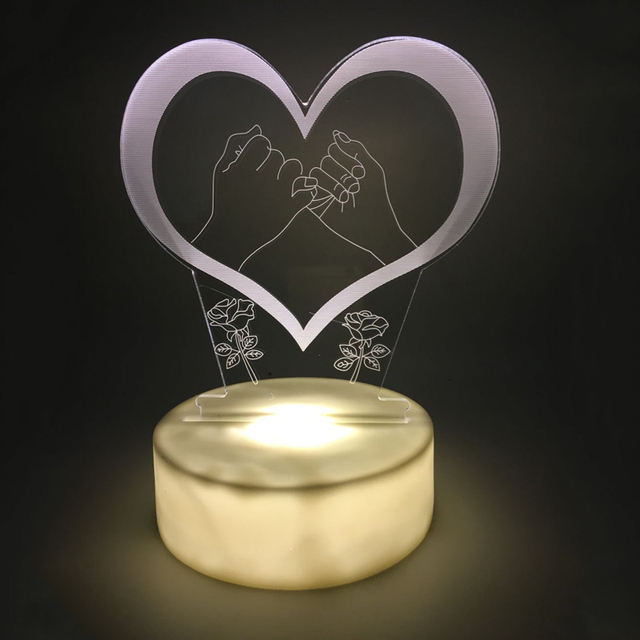Agreement LED 3D Night Light Heart Acrylic 3D Lamp White /colorful  Luminaria Battery Table Lamp