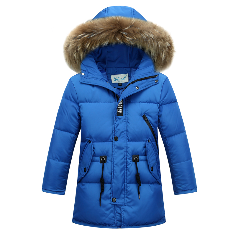 Children Winter Parkas Jacket Big Fur Collar Boys Outerwear Coat Fashion Stand Collar Casual Solid Down Jacket 2016 New 2016 new men thick warm parkas outerwear fashion stand collar zipper casual down jacket male plaid patchwork winter coat a4583