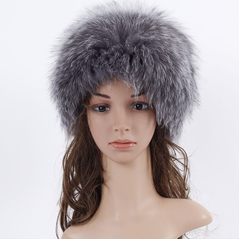 New Fox Fur Hat With Seven Fox Ball Russia Winter Hats Women Knitted Silver Fox Fur Hat Female Russian Fur Hats Women's Winter