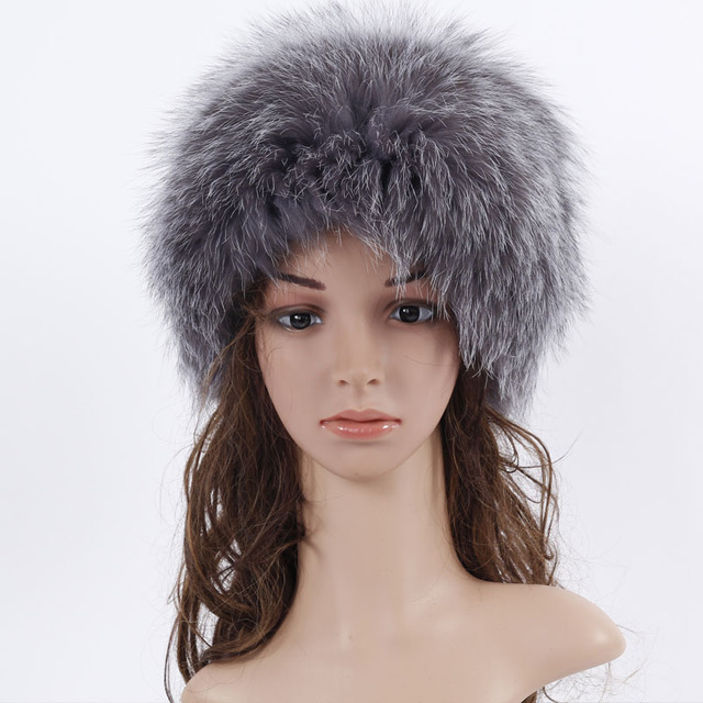 New Fox Fur Hat With Seven Fox Ball Russia Winter Hats Women Knitted Silver  Fox Fur Hat Female Russian Fur Hats Women s Winter 371c7bfb917