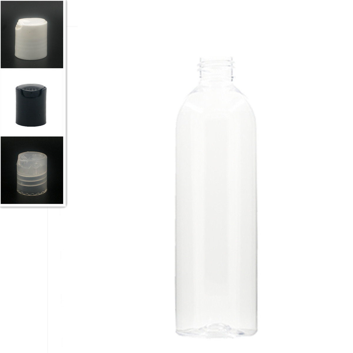 250ml Empty Cosmo Round Plastic Bottle, Clear Pet Bottle With White/black Disc Top Cap