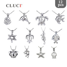 CLUCI 12pcs/set Mix Ocean Turtle Starfish Dolphin Pearl Cage Pendant Women Silver Plated Cute Charms Pendant Jewelry MPC007SB