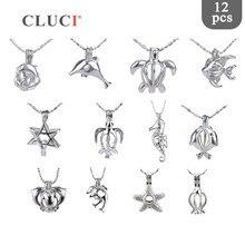 Cluci 12 ピース/セットミックス海ヒトデイルカ真珠のケージペンダント女性シルバーメッキかわいいチャームペンダントジュエリー MPC007SB