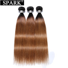 Spark Peruvian Straight Hair 1/3/4 Bundles 100% Ombre Human Hair Remy Hair Weave Extensions Two Tone 1B/Burgundy & 99J & 27 & 30(China)