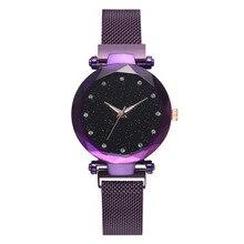 Womens Star Quartz Watch Magnet Strap Alloy Luxury Round Coated Glass Dual Display Tungsten Steel