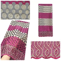 Pink High Quality African Lace 2019 Swiss Guipure Cord Net Lace Fabric 2019 with Stones 5 Yard Multi Color Latest Lace Fabric