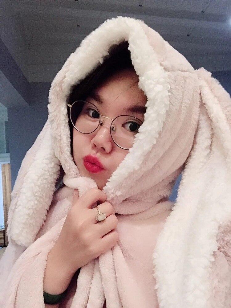 Cute Pink Comfy Blanket Sweatshirt Winter Warm Adults and Children Rabbit Ear Hooded Fleece Blanket Sleepwear Huge Bed Blankets 101