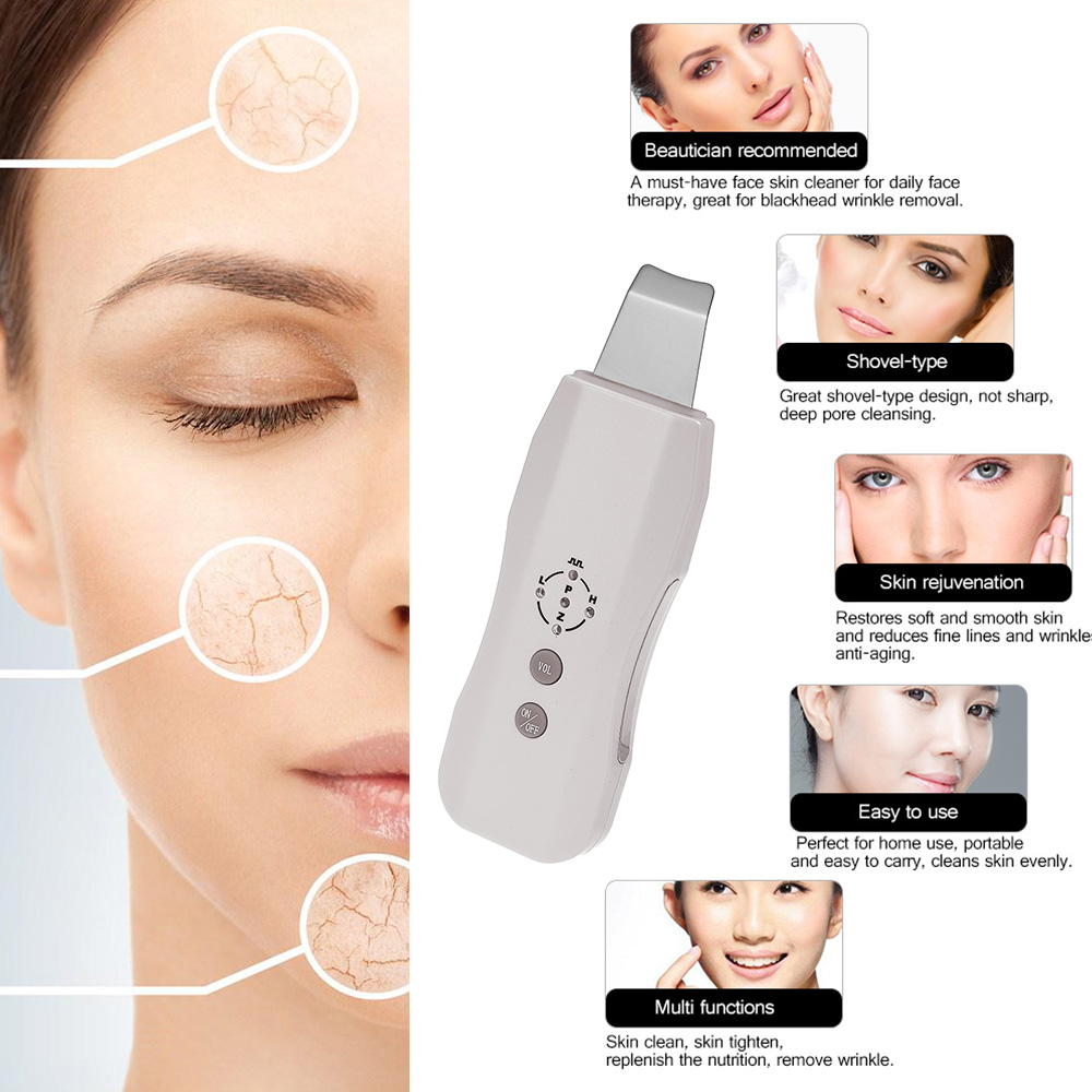Skin Care Massager Sonic Skin Cleaner Ultrasonic Face Pore Scrubber Facial Tighten Peeling Shovel Exfoliator Blackhead Removal(China)
