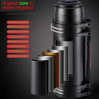 Stainless Steel Insulated Thermos Bottle 1.2L/1.5L/2L/2.2L/2.6L/3L Travel mountaineering Coffee Mugs Thermal Vaccum Pot