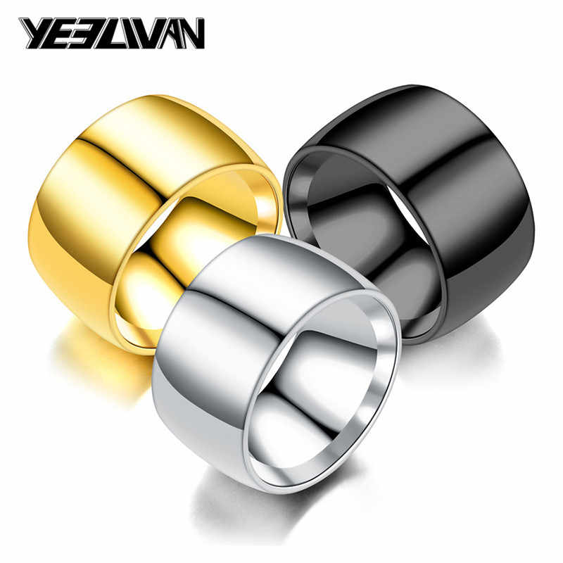 12mm Wide Big Men's Rings Stainless Steel Glossy Face Gold Black Silver Color Punk Rings for Women Men Drop Shipping Wholesale