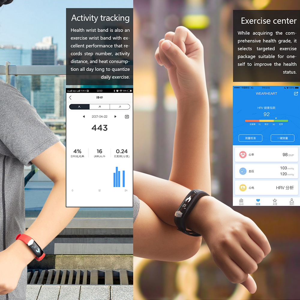 Smart Bracelet Sports Watches Fitness Tracker Heart Rate Blood Pressure Monitor Sleep Pedometer CD01 Band for IOS Android Phones