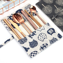 2019new Korean Tableware 9PCS Stainless Steel Cutlery Set Chopsticks Fork Spoon Straw Spoon and Close Bag for Travel Cutlery Set creative fashion smile hollow spoon stainless steel chopsticks cutlery gift set