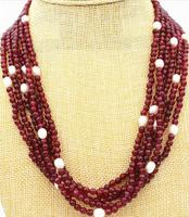 Stunning! White 8 9MM Pearl Natural Garnet 4MM faceted Necklace 18 6 row AAA