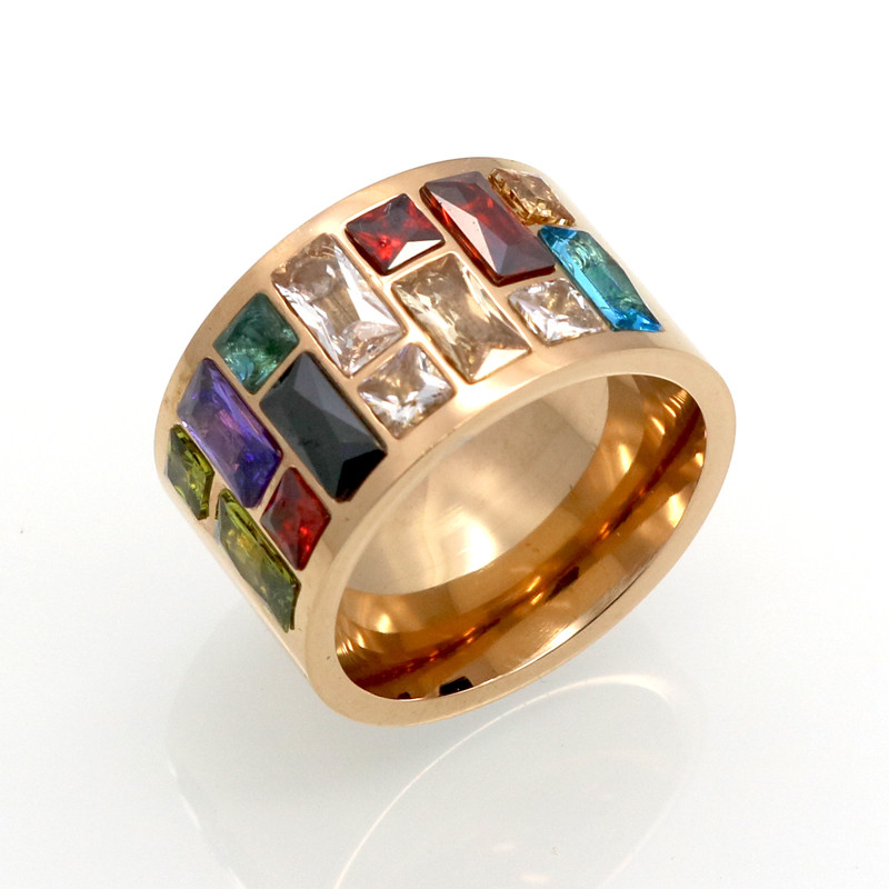 Crystal Ring For Women Anel 316L Rustfrit Stål Kvinde Rainbow Color Stone Ring Anillo Fashion Smykker Bryllup Ringe