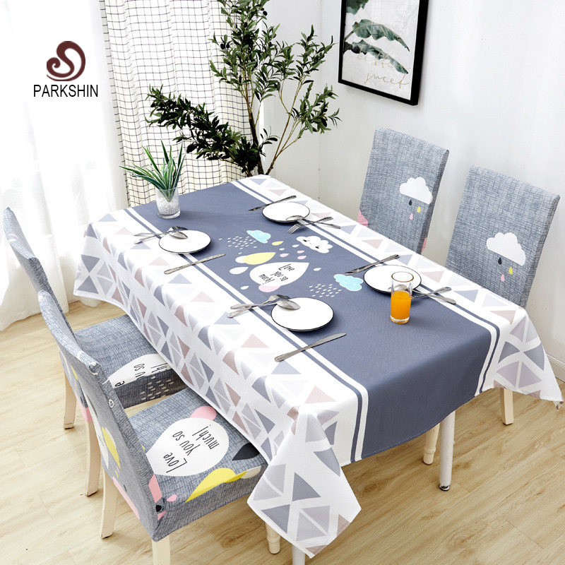 Parkshin Modern Decorative Tablecloth Home Kitchen Rectangle Waterproof Table Cloths Party Banquet Dining Table Cover 4 Size-in Tablecloths from Home & Garden