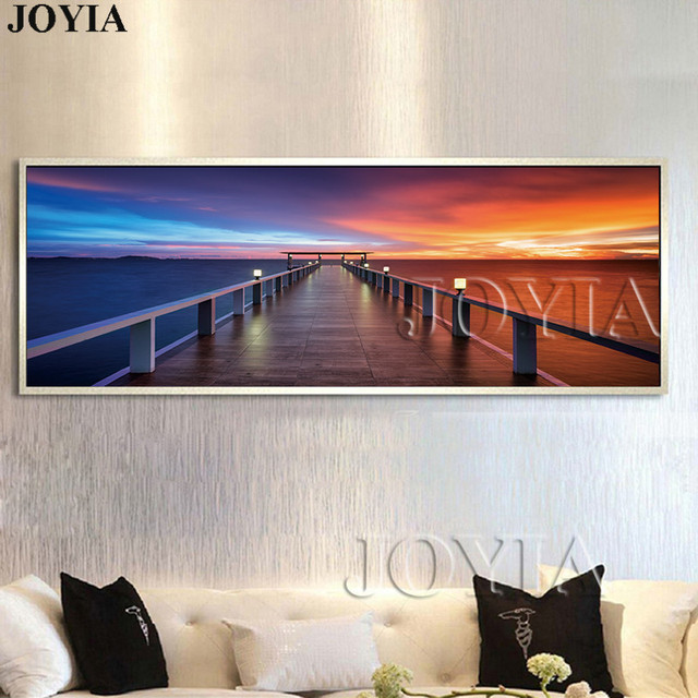 Large Canvas Art For Living Room Area Rug Ideas Small Morning Sunrise On Sea Pier Wooden Bridge Paintings Modern Seascape Wall Pictures Home Decor