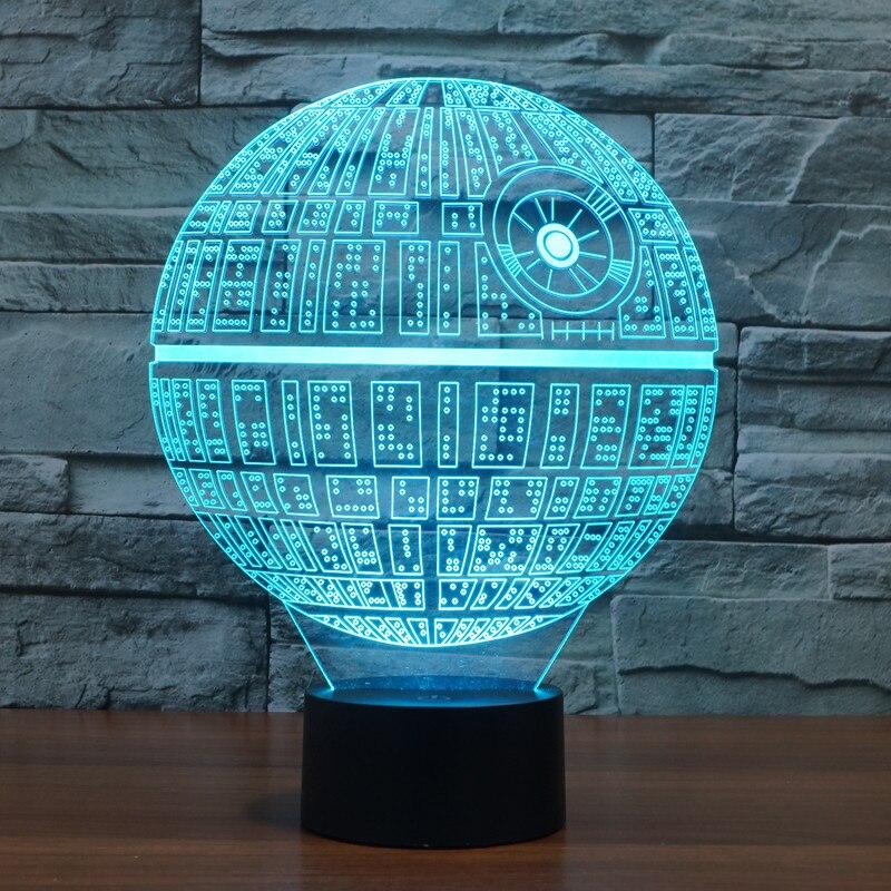 Lámpara LED de mesa de noche 3D ilusión óptica USB Cable lámpara de escritorio Día de San Valentín Halloween decoraciones Star Wars estrella de la muerte