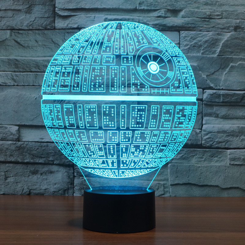 LED Table Night Light 3D Optical Illusion USB Cable Desk Lamp Valentine's Day Halloween Decorations Star Wars Death Star