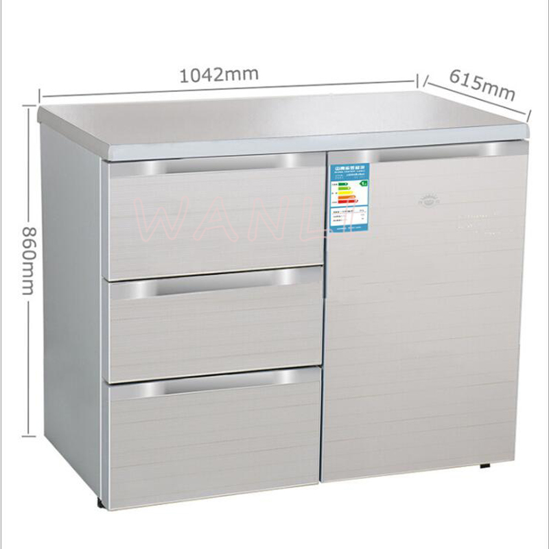 220V 130W 210L Household Horizontal Refrigerator Kitchen Console Three-drawer Open Door Refrigerator