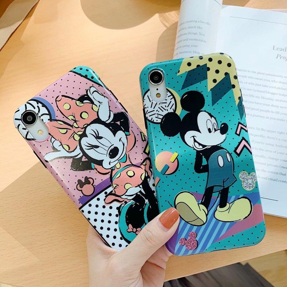 19028053063 Para IPhone XS Max de lujo de dibujos animados Minnie Mickey Mouse funda de  silicona protectora de vidrio para IPhone X XR 8 7 6 6 s Plus cubierta en  Casos ...