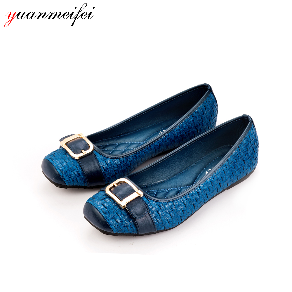 yuanmeifei Fashion Flats Shoes Buckle Casual Loafers Shoes Women Sandals  Plus Size 41 Square Toe 2017 New Arrival Spring/Autumn new 2017 spring summer women shoes pointed toe high quality brand fashion womens flats ladies plus size 41 sweet flock t179