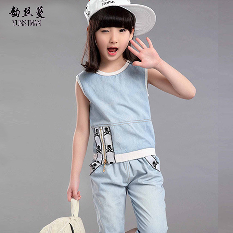 Girls Summer Clothing Set for Age 4 6 8 10 12 Years Kids Cartoon Cowboy Sports Suit Jeans Kids Sport Clothing Pants Set 9 39C02