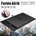 Parblo A610 Digital Tablet Tableta de Dibujo de Gráficos Pad w/Pen 2048 Nivel Digital Pen + Anti-fouling Guante como Regalo