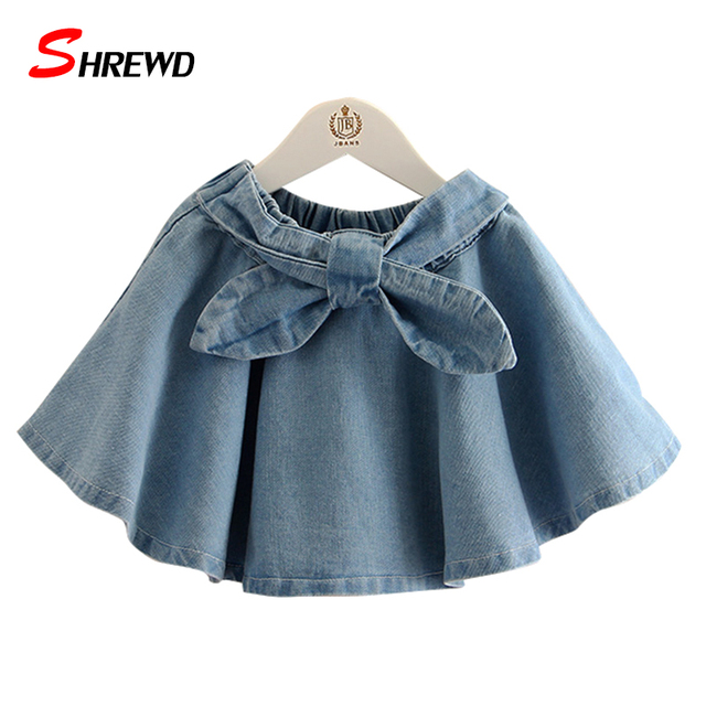 Denim Skirts Girls New 2017 Spring Casual Bow Baby Girl Skirt Solid Color Elastic Waist Simple Kids Clothes Girls 4802W