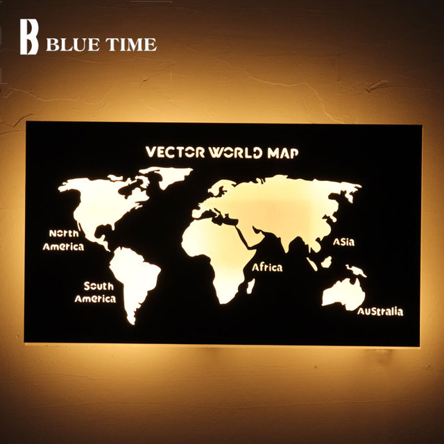 World map acrylic modern led wall lamp with 18w black finsihed wall world map acrylic modern led wall lamp with 18w black finsihed wall light indoor bedroom living gumiabroncs Choice Image