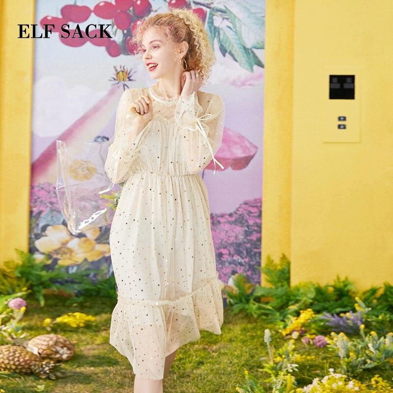 ELF SACK 2019 Summer Dress Vintage O Neck Ladies Dresses Bohemian Sequin Ladies Elegant Dress Streetwear