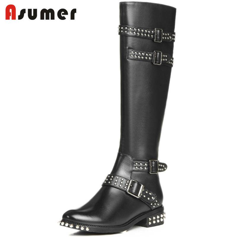 ASUMER 2018 HOT fashion rivet buckle genuine leather+PU boots zip thick heel knee high boots for women round toe winter bootsASUMER 2018 HOT fashion rivet buckle genuine leather+PU boots zip thick heel knee high boots for women round toe winter boots