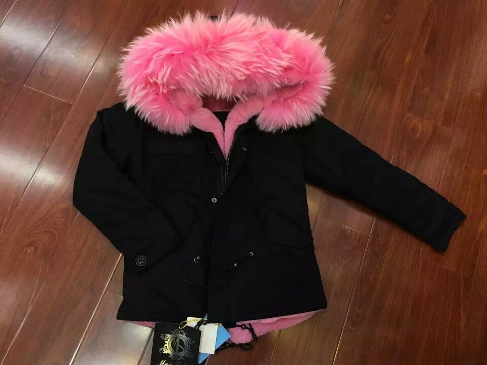 Black And Pink Coat | Down Coat
