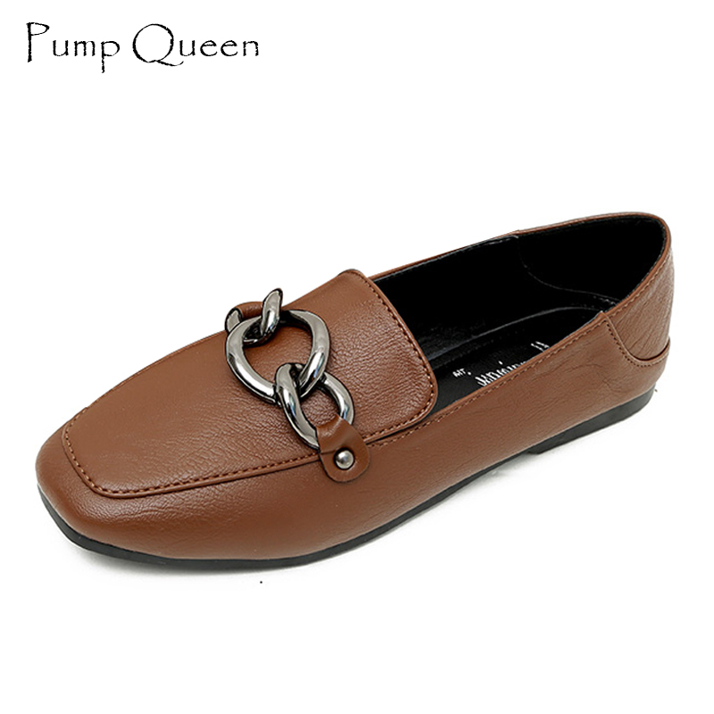 Basic Flats Shoes Women Spring New 2018 Solid Slip-On Square Toe Women Flats Shallow Casual Women Shoes Green Brown Black fedonas retro black brown women flats heels shoes round toe buckles slip on new spring casual shoes women genuine leather shoes