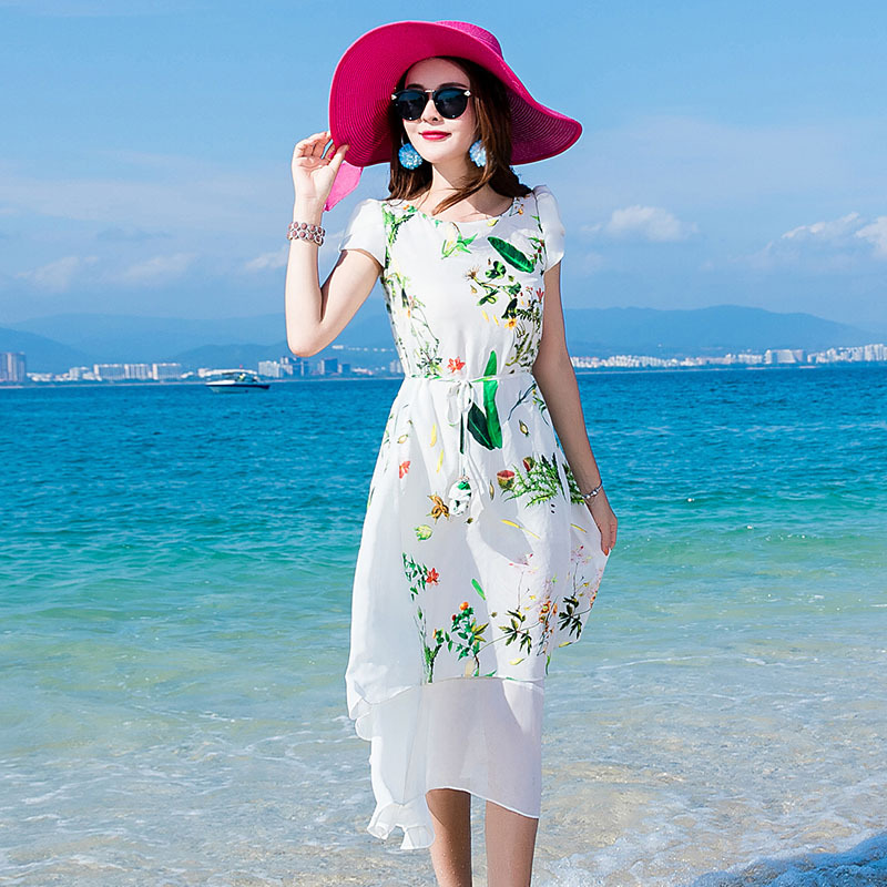 Soirée Longue D'été Impression Bureau Plage Robes Vêtements Femmes Robe Dames White Tcyeek Floral De Mince Pour Blanc Lwl1560 Élégant RFYqt8x