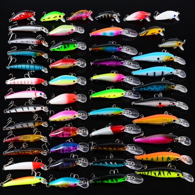 48 pièces Minnow Leurre Kit Mixte 5 Type 9.5 cm/7g 5 cm/4g 7.9 cm/5g 7.1 cm/8g 10 cm/9.4g Appâts Artificiels Crochet 4 #-8 # Agrès de pêche