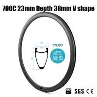 Catazer Full Carbon Fiber Road Bike 700C 23mm Wide 38mm V Shape Clincher Rim For Triathlon