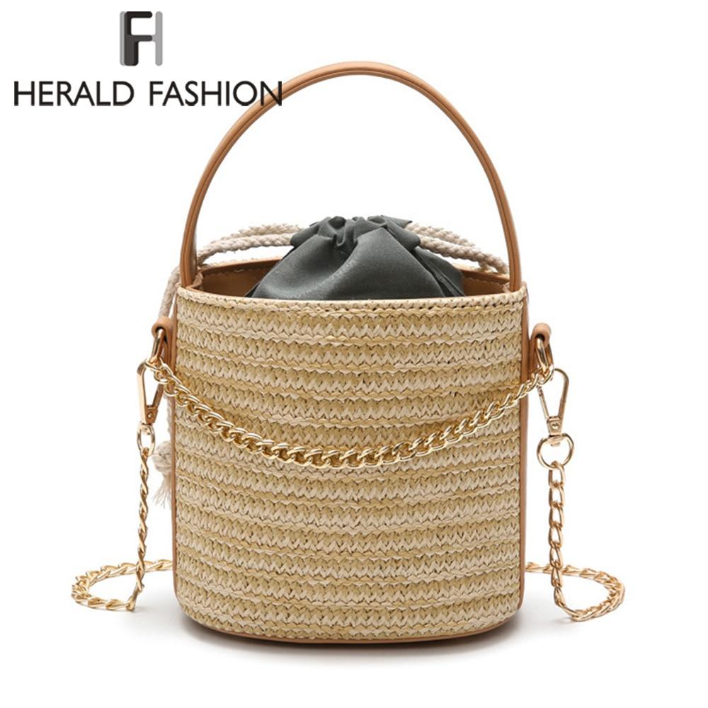 все цены на Herald Fashion Quality Women Straw Bags Summer Beach Handbag Casual Female Shoulder Bag Vintage Rattan Bag Handmade Travel Bags онлайн