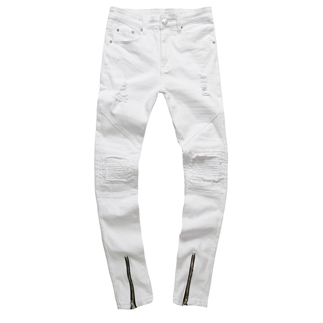 4e0a3fb66e4 Supper Skinny Jeans Men Stretch White Knee Ripped Biker Jeans For  MenDistressed Skinny Jeans Slim Fit Warm Winter Male Pants