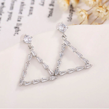 New Fashion Cubic Zirconia Triangle Drop Earrings Personality Silver Color Geometric Big Women Jewelry Wholesale