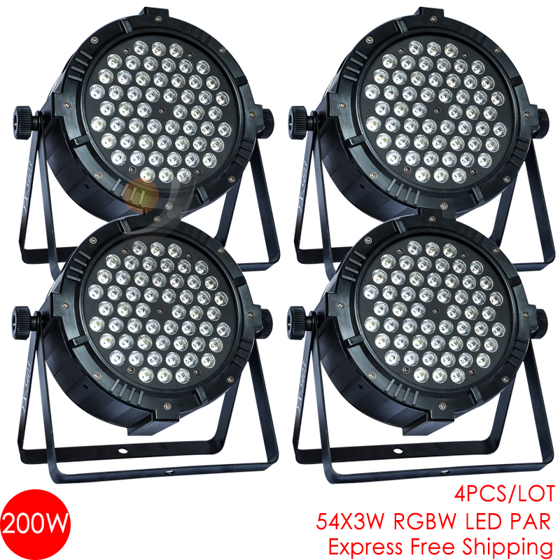 NEW!!!4/lot 54*3W rgbw LED par for party disco led light par 64 dmx stage led flat club par light dj equipment