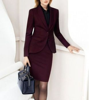 Burgundy women skirt suit business long sleeve slim blazer and skirt set ladies plus size work wear B339