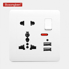 Bcsongben wall power socket Double usb Universal five Hole Switch control 2.1A Wall Charger Adapter Plug Socket Power