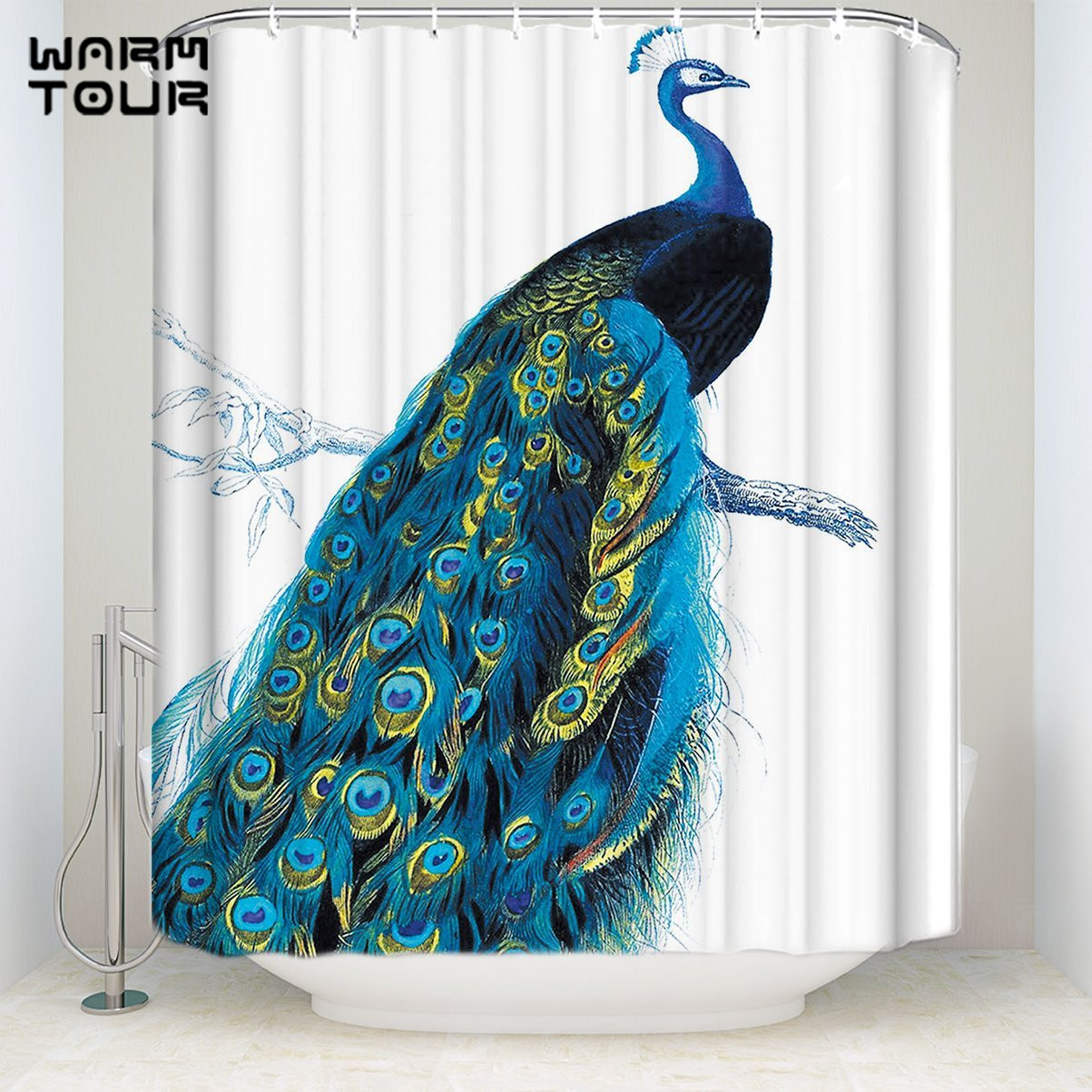 Us 17 38 25 Off Warmtour Shower Curtain Extra Long Fabric Bath Shower Curtains Proud Peacock Welcome Mildew Resistant Bathroom Decor Sets In Shower