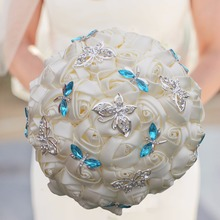 Arrival Ivory White Flower With Butterfly And Dragonfly Decoration Wedding Bouquet Crystal Artificial Bridal W2217