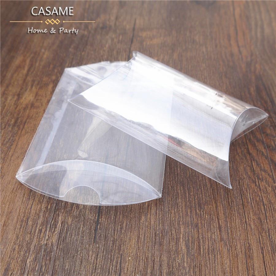 50pcs/lot Plastic Pillow Shape Wedding Favor Gift Box bags Party ...