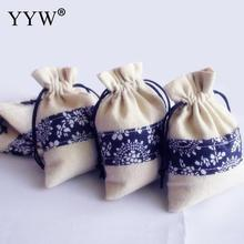 50PCs/Bag fashion women jewellry Pouches Bags Whole sale Cotton Rectangle 100x140mm Gift Bags Jewelry