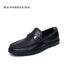BASSIRIANA New 2019 Genuine cow Leather men casual shoes Breathable spring autumn summer Black 39-45 size Free shipping