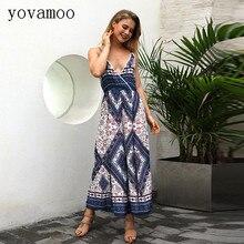 Yovamoo Sexy Deep V-neck Cami Floral Print Bohemian Vintage High Waist Jumpsuit Summer 2018 New Fashion Split Pants Women Romper random floral print lattice v neck cami
