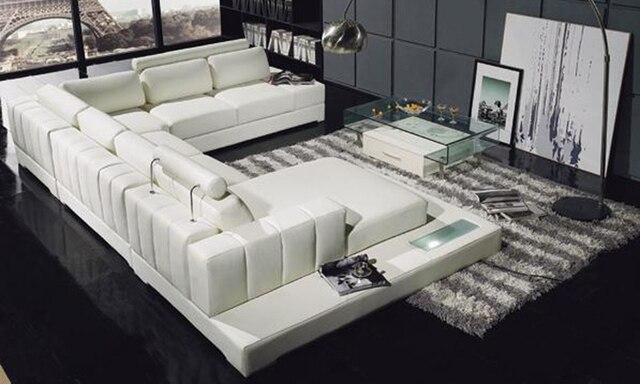 Latest Modern Design Sofa U Shaped Corner Sofa with LED Light Storage Rack functional Sofa Set Living Room Furniture Settee